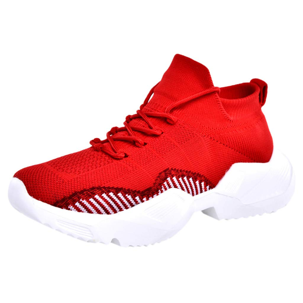 Caopixx Shoes for Men's Breathable Hip Hop Sneakers Casual Walking Blade Outdoor Sport Sneakers Red