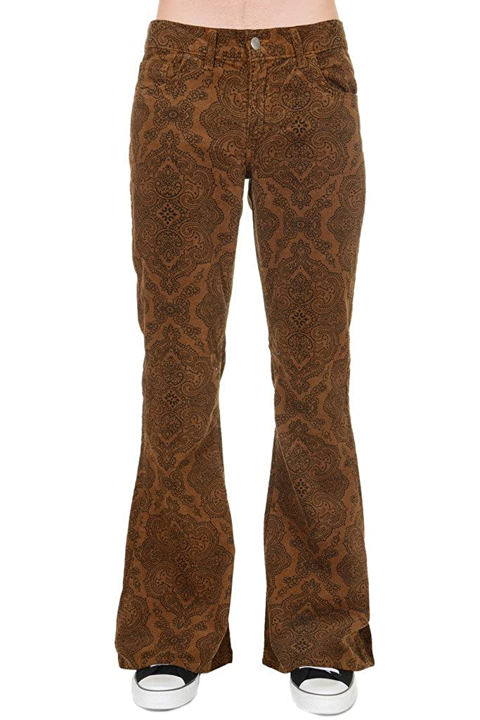 Run /& Fly Mens 60s 70s Vintage Tan Paisley Corduroy Retro Bell Bottom Flares