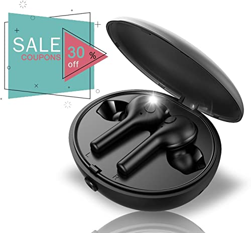 True Wireless Headphones, TAIR True Wireless Earbuds with Bluetooth 5.0 Tech, Comes with Supper 400mA Charging Earphone Box, Support TWS Single Mode, Black Portable Design – Gift for Christmas