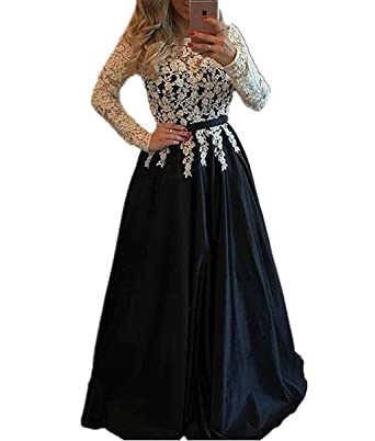 LastBridal Women Lace Beaded Long Sleeves Satin Prom Dresses 2018 Formal Evening Gowns Long LB0079 US