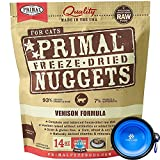 Primal Pet Food - Freeze Dried Cat Food Nuggets for Feline 14-Ounce Bag Bundle with Hotspot Pet Food Bowl - Made in USA (Venison)