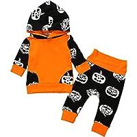 Noubeau Halloween Pumpkin Costume Infant Baby Boy Girl Long Sleeve Hoodie Tops +Long Pants Set