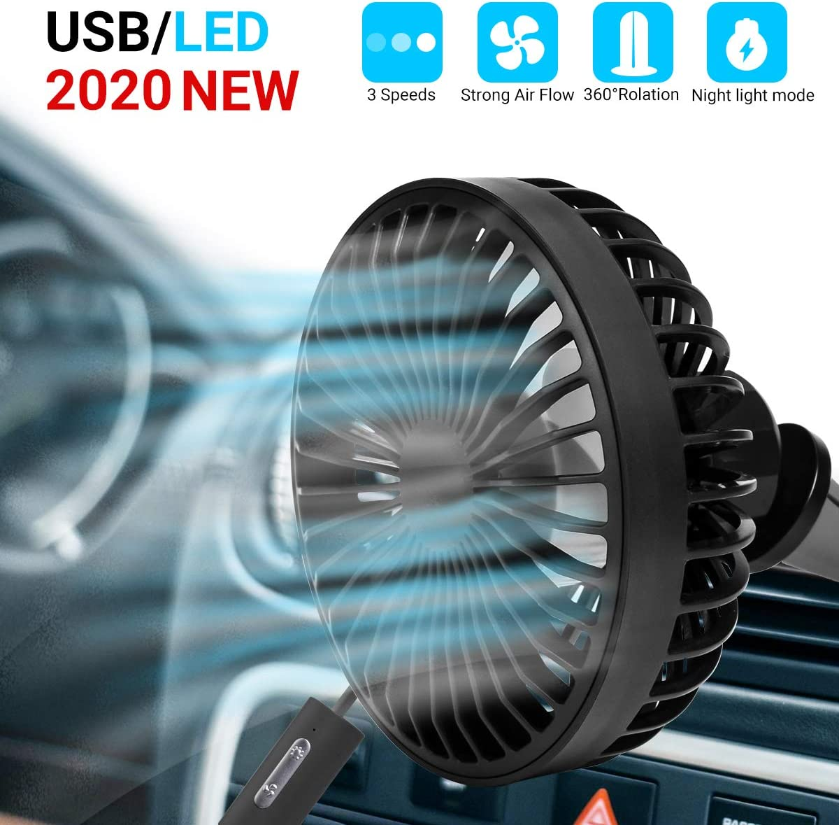 Car Cooling Fan, USB Mini Car Fan, Adjustable 3-Speed with Night Light Mode, for Car A/C Vent Home Office (Black)