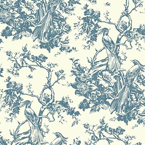 York Wallcoverings AF1948 Ashford Toiles Exotic Plumes Removable Wallpaper, Blue/White