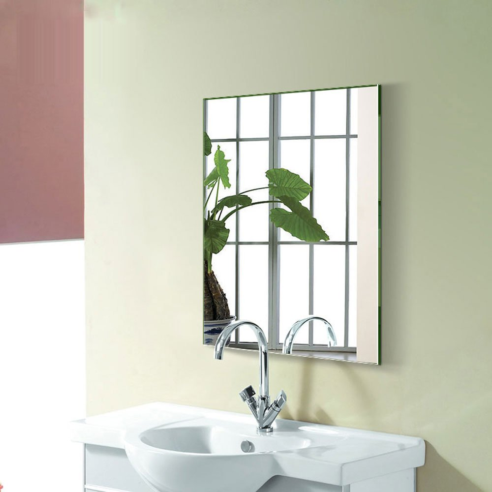 DECORAPORT 24 Inch 32 Inch Frameless Wall-mounted Bathroom Silvered Mirror Rectangle Vertical Horizontal Vanity Mirror (A-B8016H)