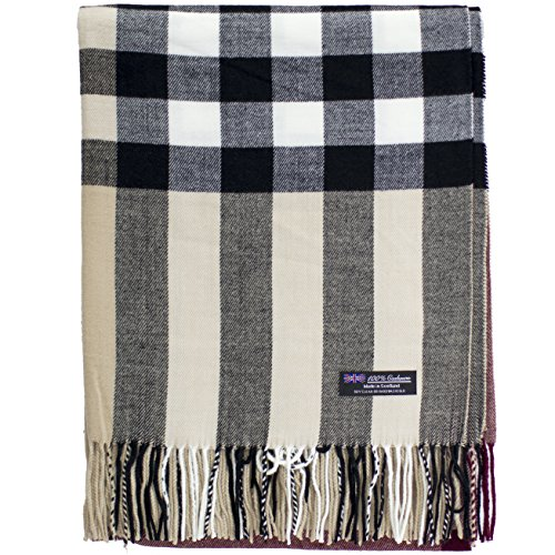 2 PLY 100% Cashmere Scarf BLANKET Collection Made in Scotland Wool Solid Plaid (Beige OS Check)