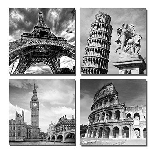 Yin Art- European Architecture Canvas Print Leaning Tower of Pisa & Eiffel Tower Italy Roman Colosseum & London Big Clock Wall Art Classical Artwork 30x30cm -