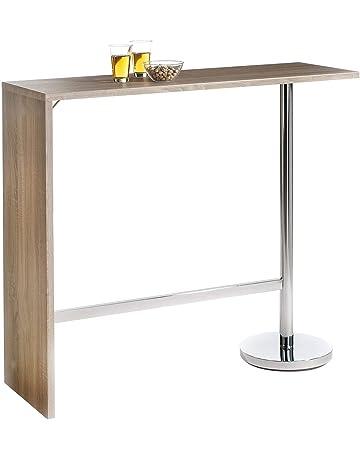 e13d48ef11d080 IDIMEX Table Haute de Bar Ricardo Mange-Debout comptoir piètement métal  chromé Bois MDF décor