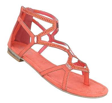 Damen Sandalen Schuhe Sommerschuhe Strandschuhe Zehentrenner Pink 39 UNi8Y261S