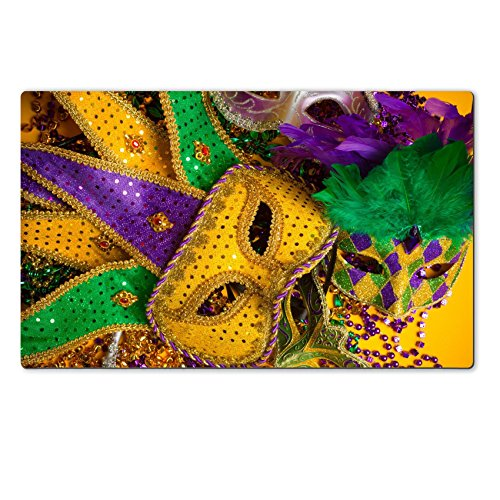 [MSD Natural Rubber Large Table Mat IMAGE ID 26283620 A festive colorful group of mardi gras or carnivale mask on a yellow background Venetian] (Mardi Gras Masks Template)
