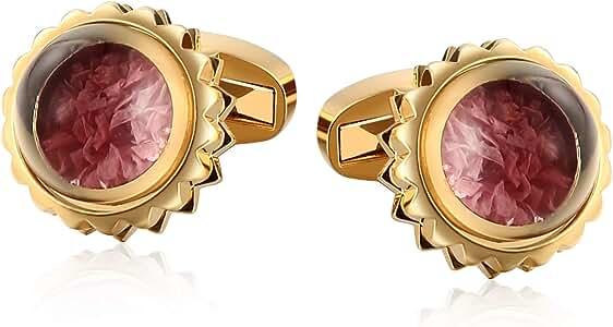 KnSam Gemelo para Camisas Gemelos de Bola de Cristal Redonda con Flor Joyas para Hombre Acero,Oro Rosado: Amazon.es: Joyería