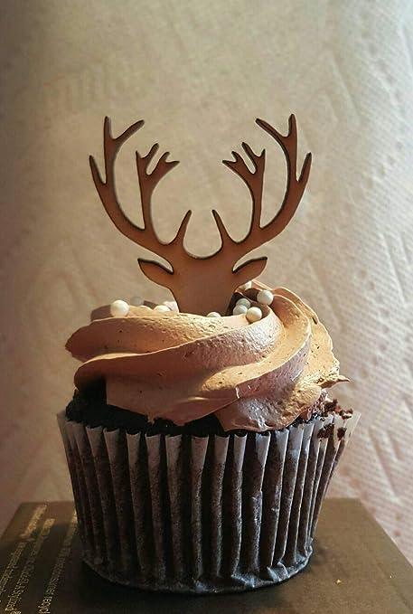 Stupendous Wooden Deer Cupcake Topper Deer Antlers Cupcake Grooms Cupcake Funny Birthday Cards Online Elaedamsfinfo