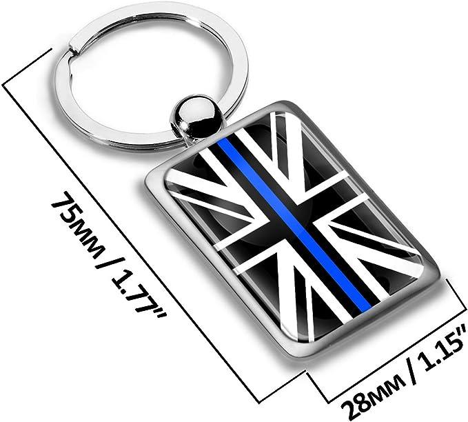 Biomar Labs Schlüsselanhänger Metall Keyring Autoschlüssel England Geschenk Metall Schlüsselanhänger Schlüsselbund Edelstahl Uk Flagge United Kingdom Großbritannien Thin Blue Line Kk 238 Koffer Rucksäcke Taschen
