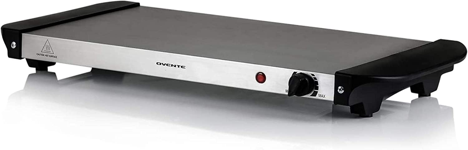 Ovente Electric Food Buffet Warmer Stainless Steel Flat Warming Tray with Adjustable Temperature Control & Easy Countertop Heating for Serving Dinner, Indoor Holiday Party & Catering, Silver FW170S
