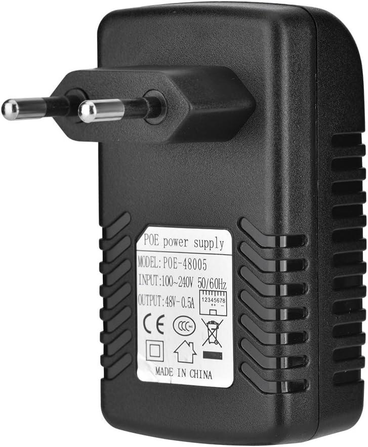 Richer-R Adaptador de inyector PoE, DC 48V 0.5A Inyector de PoE de Pared Fuente de alimentación Adaptador Ethernet para teléfono IP, Punto de Acceso inalámbrico y Dispositivos Cliente(Euro Plug)