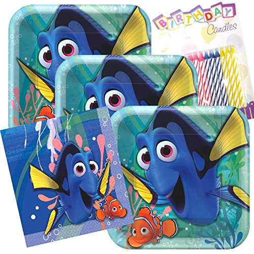 (Finding Dory w/Nemo Party Plates and Napkins Serves 16 With Birthday)