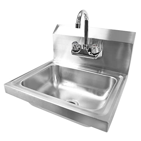 commercial stainless steel hand wash sink washing wall mount kitchen restaurant heavy duty - Hand Wash Sink
