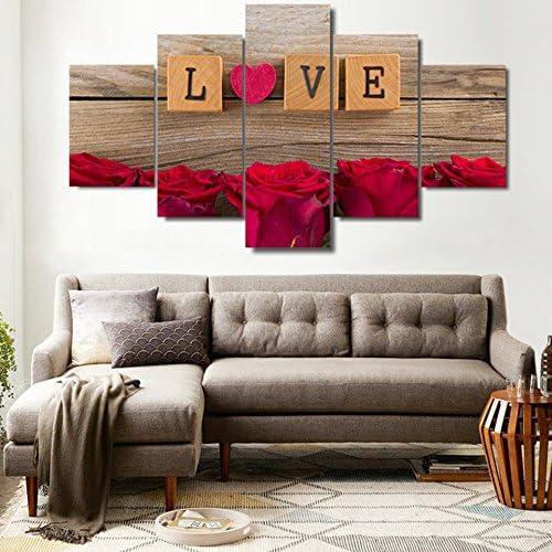 Pinturas En Lienzo 5 Piezas Amor En Scrabble Piezas Imágenes HD Impresiones Corazón Rosas Rojas Diseño De Marco Decoración De Pared Arte De La Pared-Sin Marco: Amazon.es: Hogar