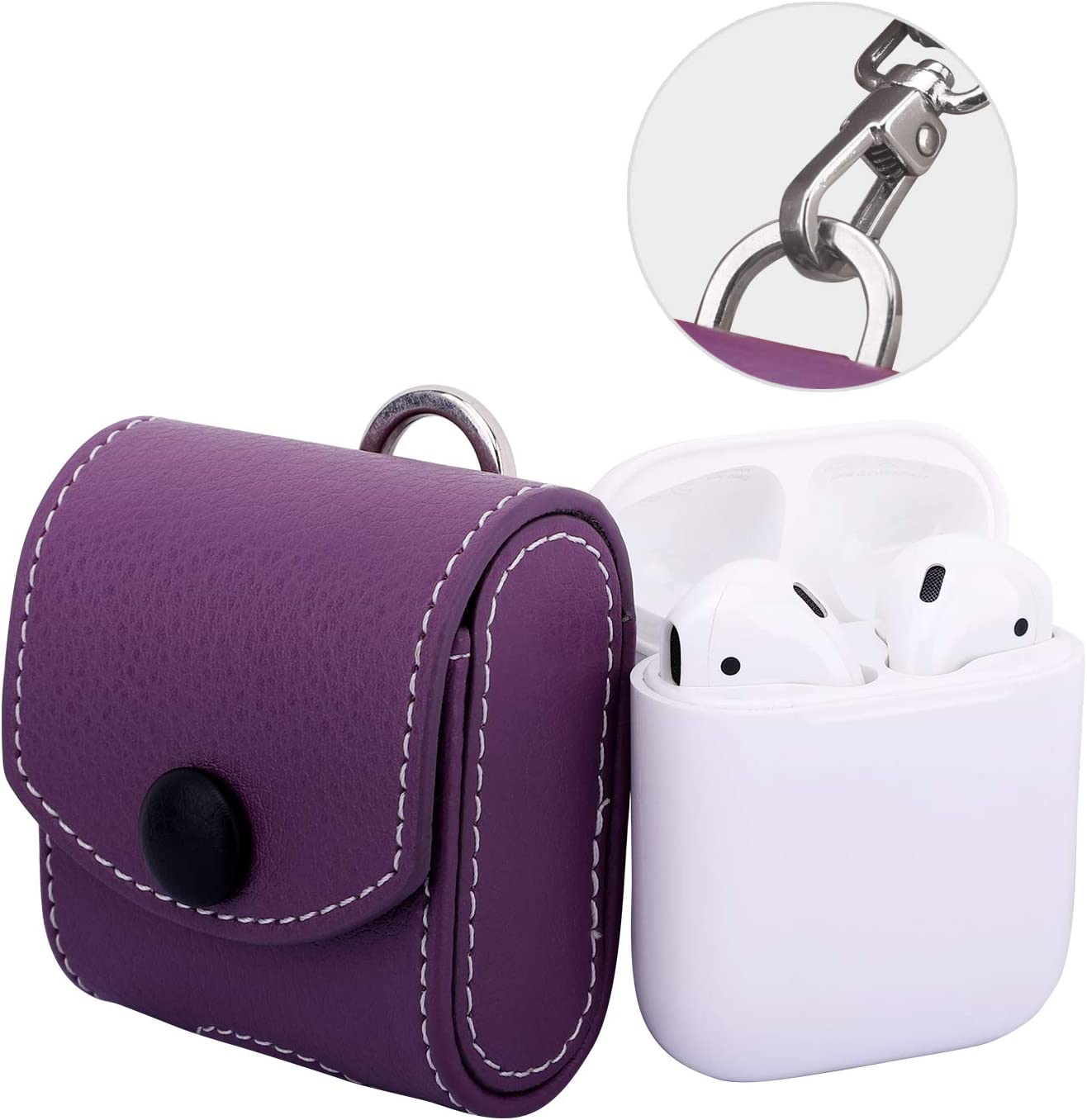 MoKo Case Fit AirPods 1/AirPods 2, Magnetic Snap Closure Protective Cover Carrying Pouch Pocket, with Holding Strap, for AirPods 1 & AirPods 2 Charging Case - Purple