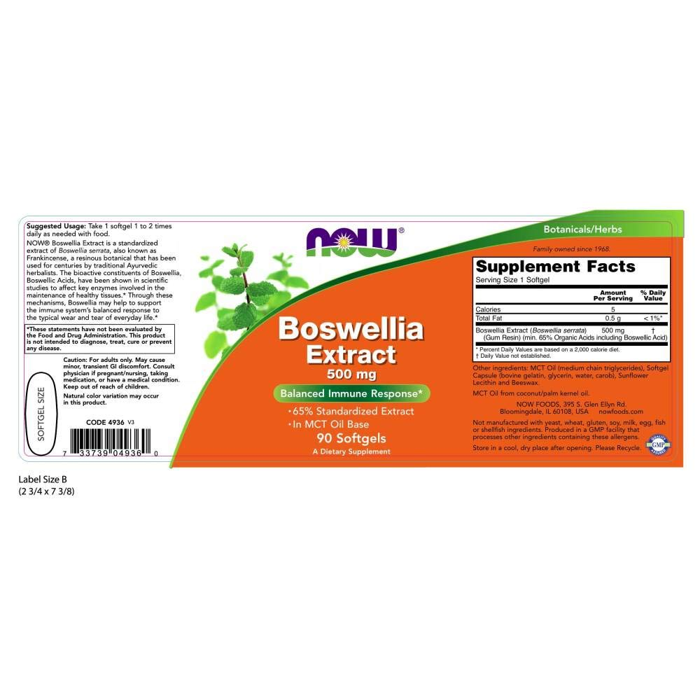 Now Foods Suplemento Alimenticio Boswellia Extract, 500Mg - 90 Cápsulas