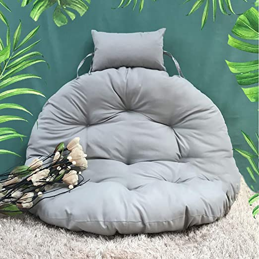 Hanging Chair Cushions,Out Stand Thick nest Multi Color Removable Washable Round Swing seat Cushion Pillow-Gray Diameter 105cm