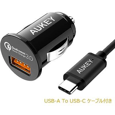 【24時まで】AUKEY QC3.0対応 18W カーチャージャー(車載USB充電器) CC-T13 USB-A to Cケーrブル付 税込799円 プライム会員送料無料