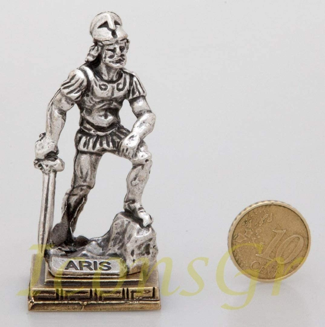 Silver Ancient Greek Bronze Museum Statue Replica of Ares Olympian Pantheon God Of War