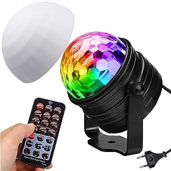Discokugel Nachtlicht Kinder SOLMORE Discolicht Partylicht LED Lichteffekte  Disco Ball mit RGB 7 Farbe 3W Lampenschirm Fernbedienung Soundkontrolle ...