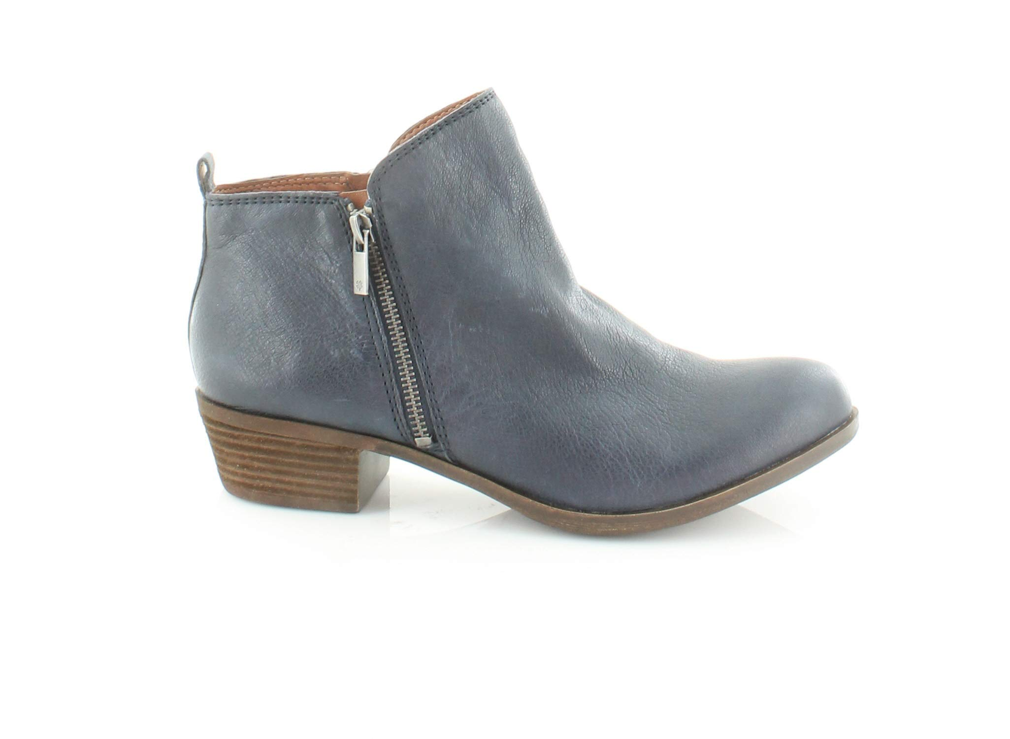 Lucky Brand Womens Basel Leather Closed Toe Ankle Fashion, Indigo, Size 5.5