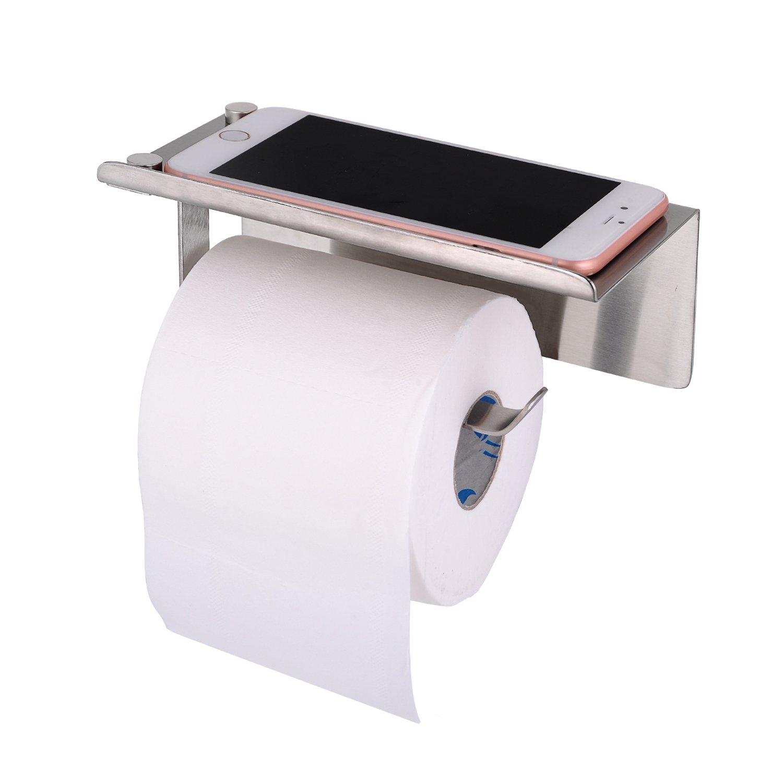 Wotwre Toilet Paper Holder, Brushed Nickel Paper Towel Holder SUS304 Stainless Steel Self Adhesive Modern Bathroom Tissue Paper Holder With Mobile Phone Holder Storage Shelf (Brushed)