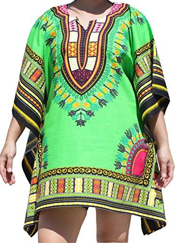 Side Flap Top - RaanPahMuang Brand Festival Shirt Batwing Flap Sides Bright Africa Dashiki Print, Medium, Bright Green