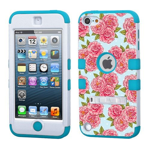 iPod touch 5th 6th Generation Vintage Flowers,White Plastic/Blue Silicone 3-Piece Style Hybrid Hard Case Cover for Apple- For Girls And Boys-Shockproof Dustproof with Stand (Vintage Flowers)