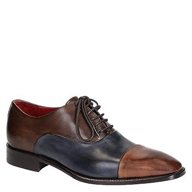 f5c5f90a734 Leonardo Shoes Chaussures Derbies pour Homme en Cuir Bleu Brandy - Code  modèle  06884 14221