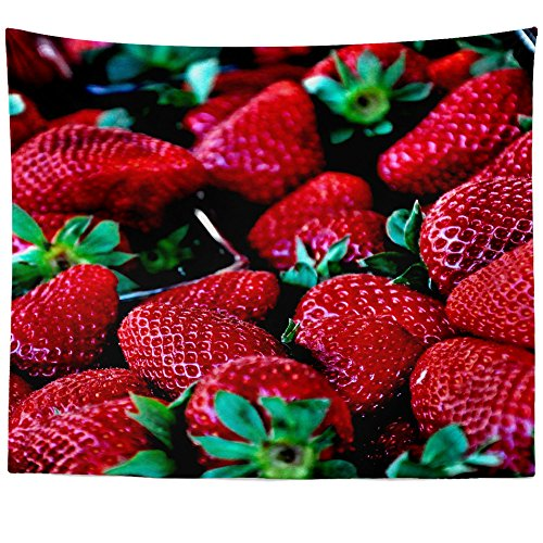 Festival Strawberry Tapestry (Westlake Art Wall Hanging Tapestry - Strawberry Foods - Photography Home Decor Living Room - 51x60in)