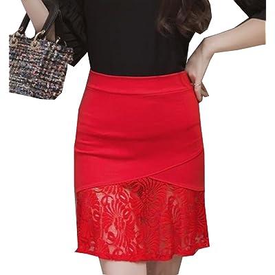 Abetteric Women's Slim Fit Pencil Skirt Lace Patchwork Bodycon Skirt