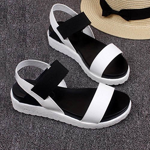 Sandales toe Été Femme Bovake Blanc Romaines Loisir Chaussures Peep Basses pw5AxEXq4x