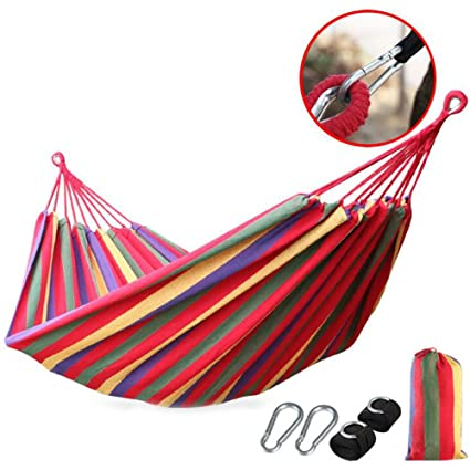 Sleeping Bags Camping & Hiking Practical Portable Camping Sleeping Bag Hammock Outdoor Hammock Garden Sports Home Travel Camping Swing Canvas Stripe Hang Bed Hammock