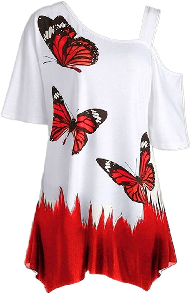 OTTATAT 2020 Summer Trendy Popular Blouse for Women,Size Butterfly Printing T-Shirt Short Sleeve Casual Tops