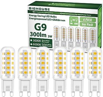 G9 Led Light Bulbs 3w 3000k Warm White 300lm 30w Halogen Bulbs Equivalent Energy Saving Led Bulbs Non Dimmable Pack Of 6 Amazon Co Uk Lighting