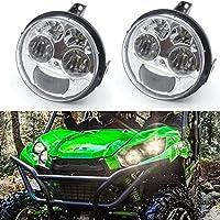 Pair Chrome 12v 4.5 INCH High/Low Beam LED Headlight For Kawasaki Teryx Teryx4 BRUTE FORCE 750