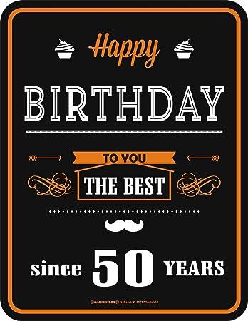 Amazon De 50er Geburtstag Happy Birthday Alu Schild Alu Flach Neu