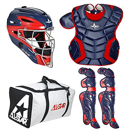 AllStar System 7 Intermediate TwoTone Catcher's Set (Ages, Navy/Scarlet by All-Star