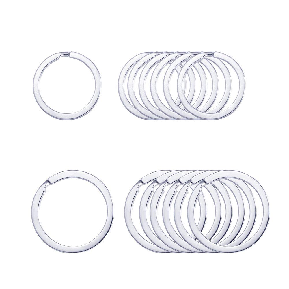 Keyring Rings Key Ring Rustproof, Dog Tag Ring Flat Key Rings Rings Split Keyrings for Home Car Keys Attachment,12 pcs