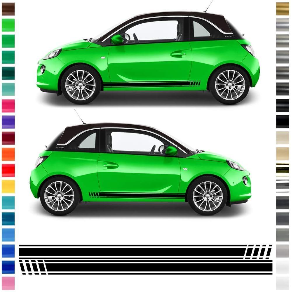 Auto Dress Seiten Streifen Aufkleber Set Dekor Passend Für Opel Adam In Wunschfarbe Schwarz Matt Auto
