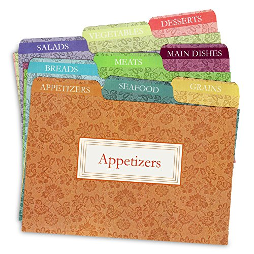 Recipe Box Dividers - Cookbook People Recipe Card Dividers for 4x6 Recipe Box Tabbed Organizers (Agatha)