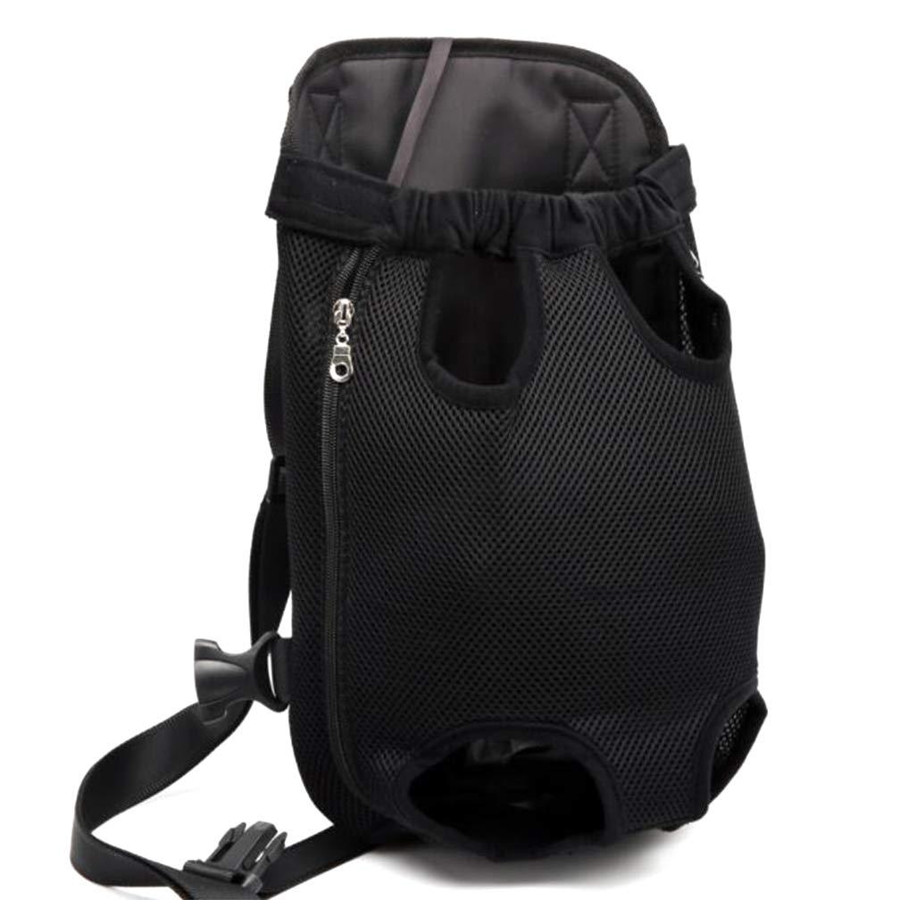 Black Small Black Small Pet Backpack, Dog Backpack, Breathable Travel Portable Pet Bag, Chest Bag, Adjustable, Waterproof, Zipper, Adhesive Design