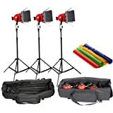 Rhkitpb Dimmer Built In Pro Photo Video Studio Continuous Red Head Light 800W Video Lighting 5Mcord With Carry Bag 3 Sets