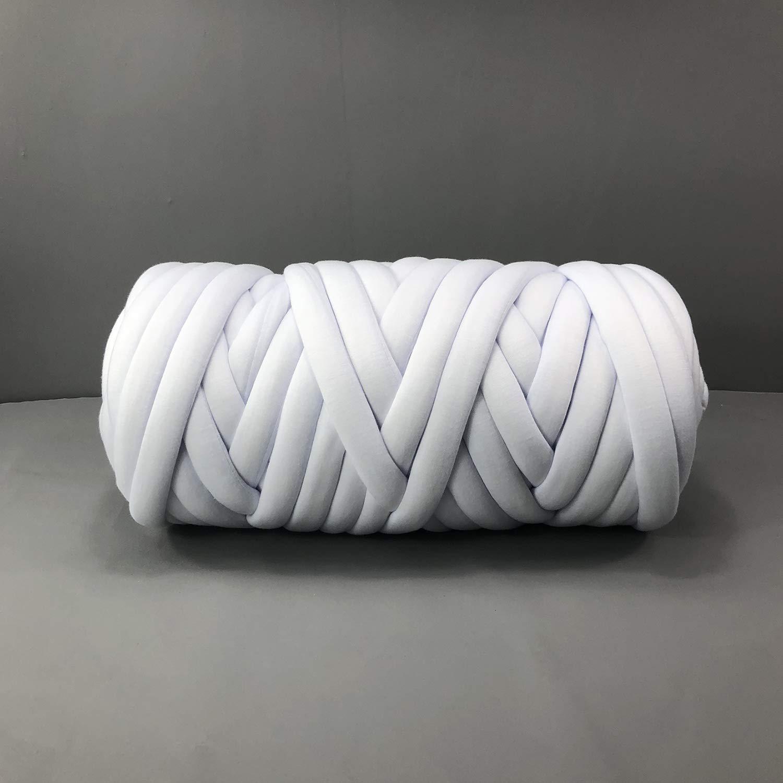 EASTSURE Chunky Braid Cotton Yarn Supre Large for Arm Knitting DIY Handmade Blankets Machine Washable,White,2.2LB