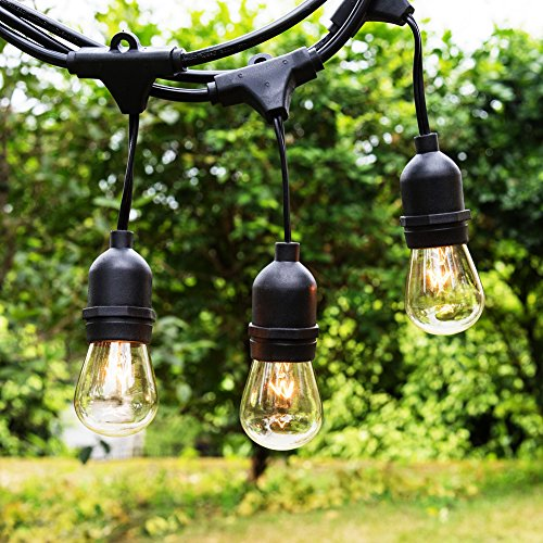Outdoor String Lights 48ft with 15 Dropped Sockets 15 x 11W S14 Bulbs included, WeatherTite Technology Great for Outdoors, Porch, Patio, Backyard, Garden, Wedding