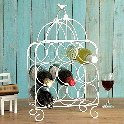 RLJJCS Wrought Iron Vintage Bird Cage Wine Rack Bar Cafe Restaurant Restaurant Decoration Bottle Wine Rack (Color : White)